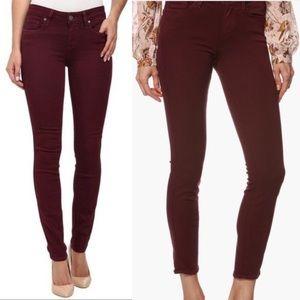 PAIGE Jeans - Paige Verdugo Ankle Maroon Burgundy Skinny Jeans
